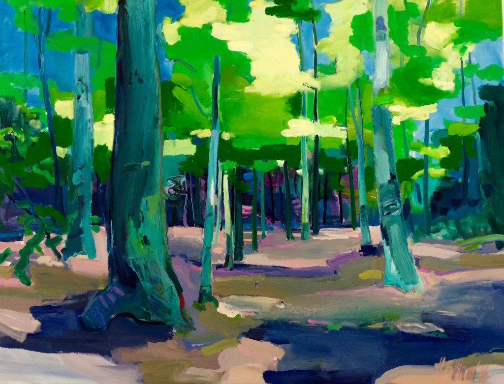 der Odenwald im Frühling Acryl auf Leinwand 100x130 cm